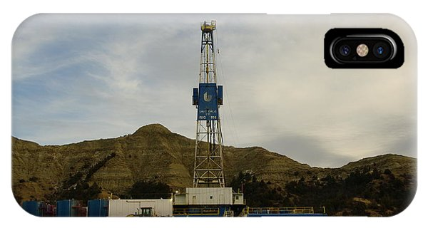 North Dakota Badlands iPhone Case - Nabors Rig 103 by Jeff Swan