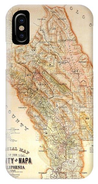 Grape iPhone X Case - Napa Valley Map 1895 by Jon Neidert