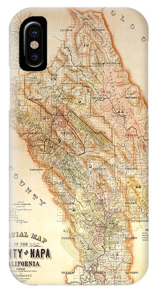 Liquor iPhone Case - Napa Valley Map 1895 by Jon Neidert