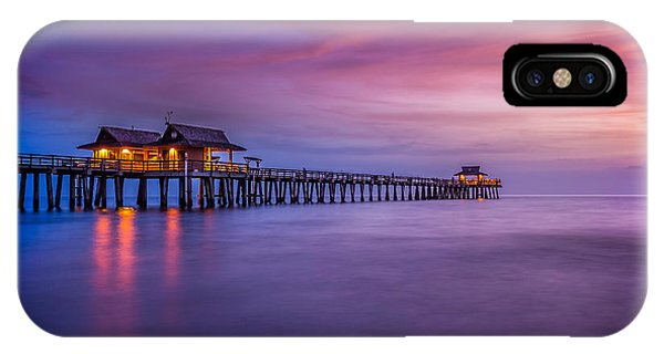 Naples Pier Purple Sunset IPhone Case