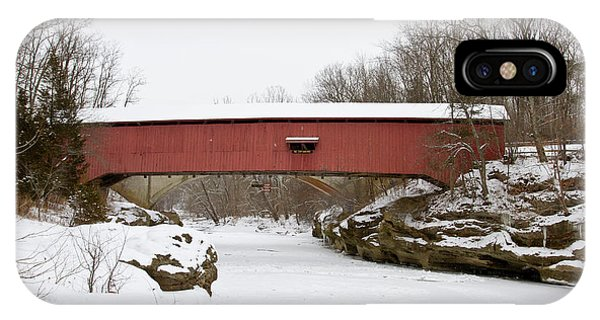 Narrow Covered Bridge In Winter, Turkey IPhone Case