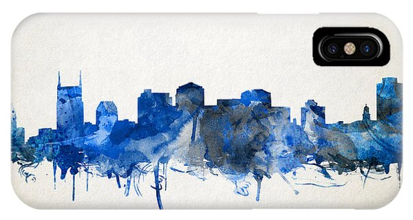 Nashville Skyline iPhone Case - Nashville Skyline Watercolor 11 by Bekim Art