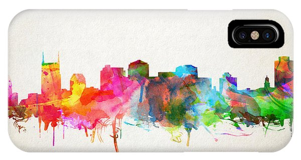 Nashville Skyline iPhone Case - Nashville Skyline Watercolor 9 by Bekim Art