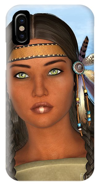Native American Spirit Portrait iPhone Case - Native American Woman by Design Windmill
