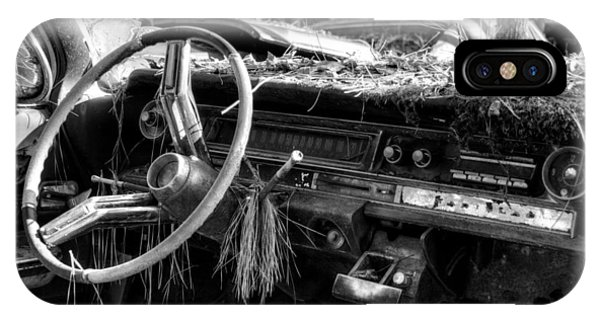 Nature Takes Over A Cadillac In Black And White IPhone Case