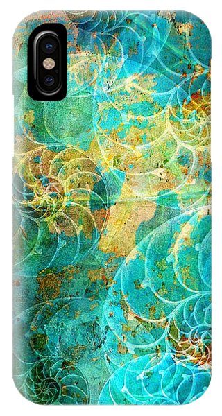 Nautilus Seashells In Aqua IPhone Case