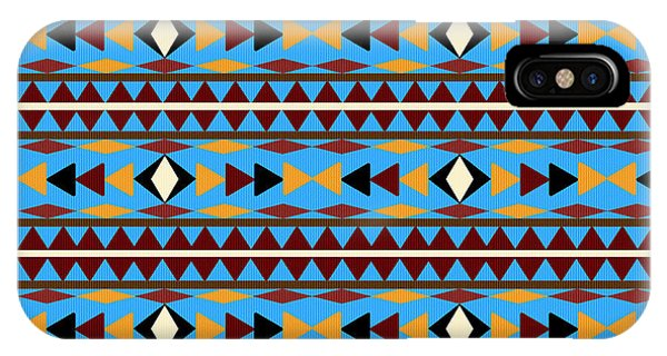 American Indian iPhone Case - Navajo Blue Pattern by Christina Rollo