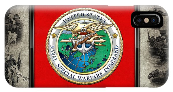 Naval Special Warfare Command - N S W C - Emblem  Over Navy Seals Collage IPhone Case