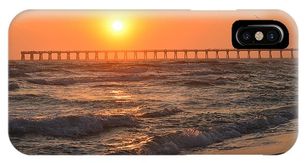 Navarre Beach And Pier Sunset Colors With Birds And Waves IPhone Case