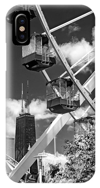 John Hancock Center iPhone Case - Navy Pier Ferris Wheel Black And White by Christopher Arndt