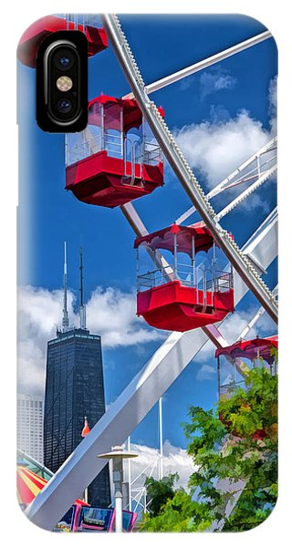 John Hancock Center iPhone Case - Chicago Navy Pier Ferris Wheel by Christopher Arndt