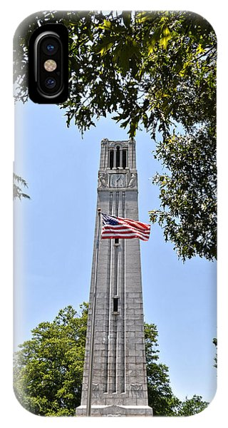 Nc State Memorial Bell Tower And Us Flag IPhone Case