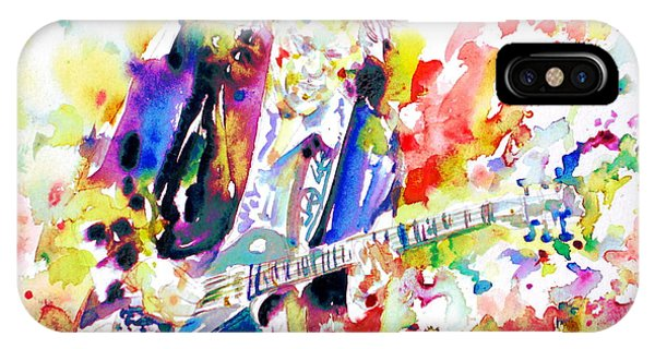 Neil Young Playing The Guitar - Watercolor Portrait.2 IPhone Case
