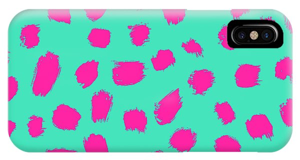 Neon iPhone Case - Neon Brush Seamless Pattern Background by Faitotoro
