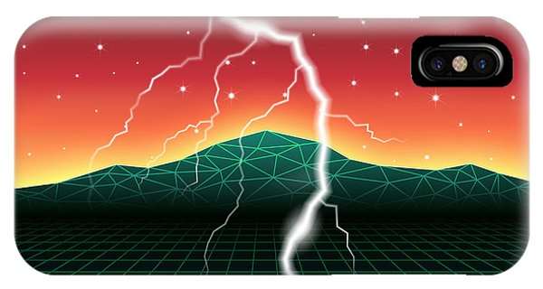 Celebration iPhone Case - Neon New Retro Wave Landscape With by Swill Klitch
