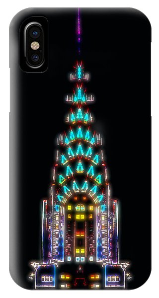 Chrysler Building iPhone Case - Neon Spires by Az Jackson