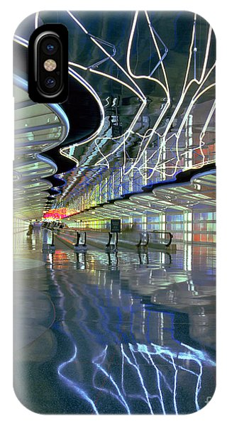 Neon Walkway At Ohare IPhone Case