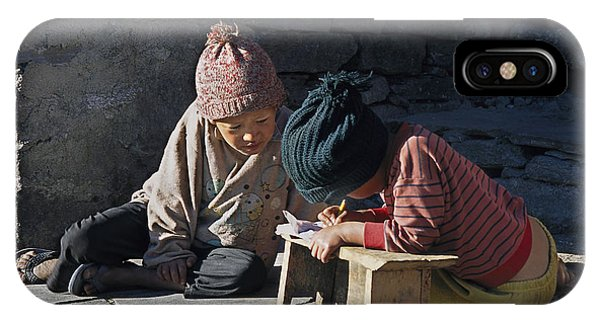 Nepalese Boys Drawing  IPhone Case