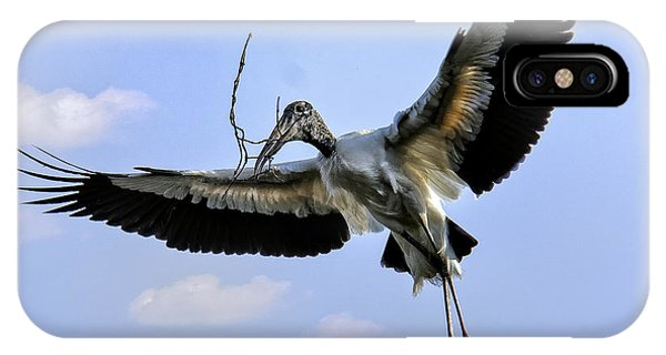 Nest Building Woodstork IPhone Case