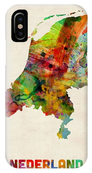 Holland iPhone Case - Netherlands Watercolor Map by Michael Tompsett