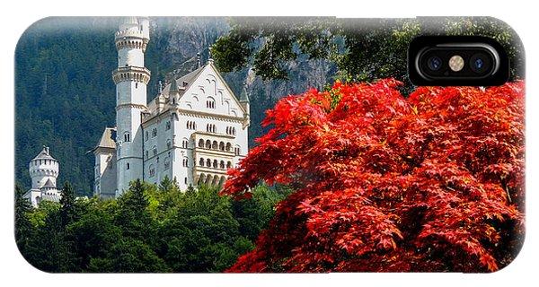 Neuschwanstein Castle With Red Foliage IPhone Case