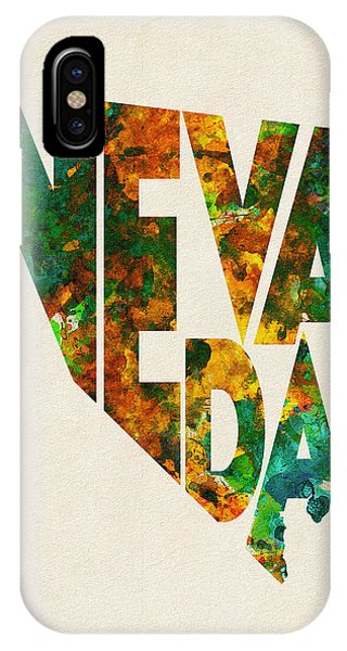 Nevada Typographic Watercolor Map IPhone Case