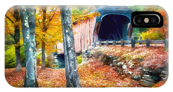 New Hampshire iPhone Case - New England Covered Bridge Watercolor 2 by Edward Fielding