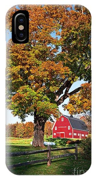 New England Fall Foliage iPhone Case - New England Farm Fall Foliage by Edward Fielding