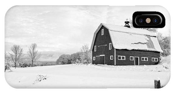 New England Barn iPhone Case - New England Farm Winter Black And White by Edward Fielding