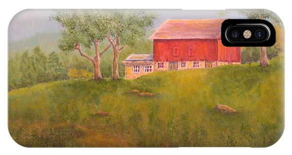 New England Barn iPhone Case - New England Red Barn At Sunrise by Pamela Allegretto