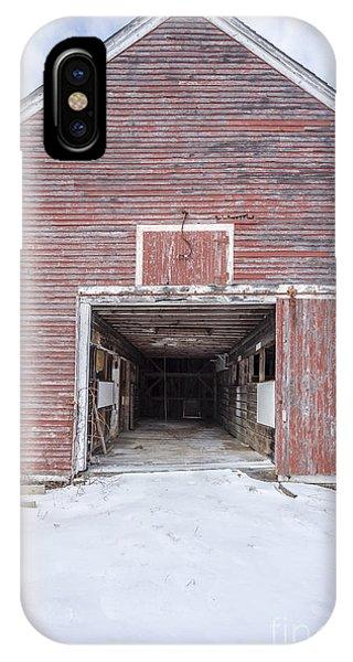 New England Barn iPhone Case - New England Red Barn Open Door by Edward Fielding