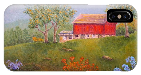 New England Barn iPhone Case - New England Red Barn Summer by Pamela Allegretto