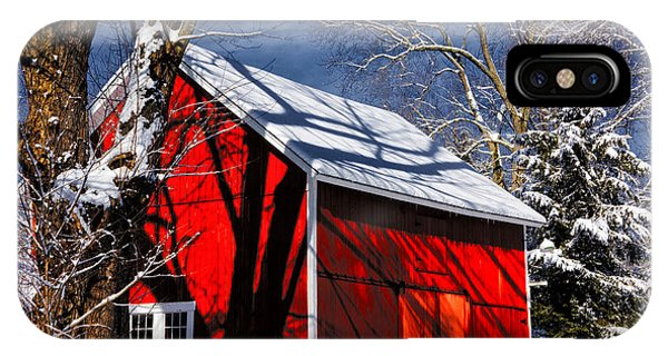 New England Barn iPhone Case - New England Winter by Karol Livote