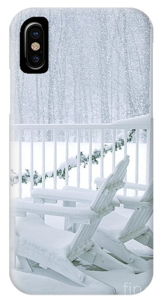 Porches iPhone Case - New England Winter Porch by Diane Diederich