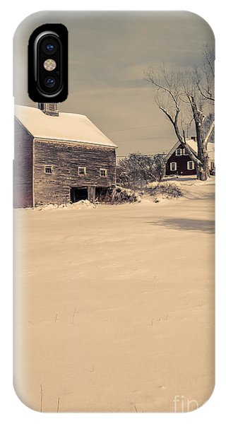New England Barn iPhone Case - New Hampshire Winter Farm Scene by Edward Fielding