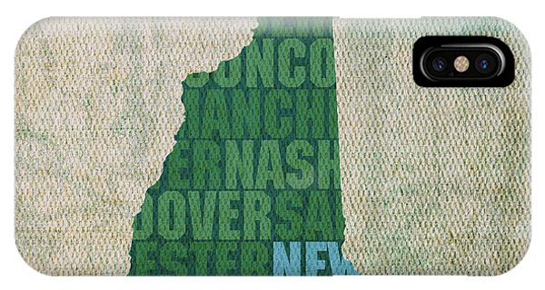 New Hampshire Word Art State Map On Canvas IPhone Case