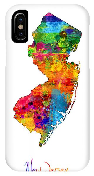 New Jersey iPhone Case - New Jersey Map by Michael Tompsett