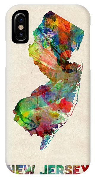 New Jersey iPhone Case - New Jersey Watercolor Map by Michael Tompsett