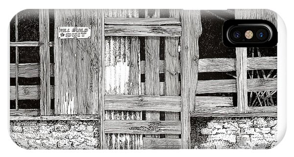 Pen And Ink Of Barn iPhone Case - Will Build To Suit New Mexico Doors by Jack Pumphrey