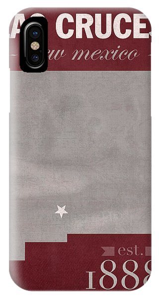 Aggie iPhone Case - New Mexico State University Las Cruces Aggies College Town State Map Poster Series No 075 by Design Turnpike