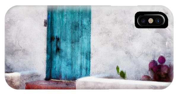 New Mexico Turquoise Door And Cactus  IPhone Case