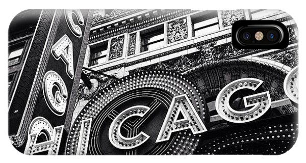 City iPhone Case - Chicago Theatre Sign Black And White Photo by Paul Velgos