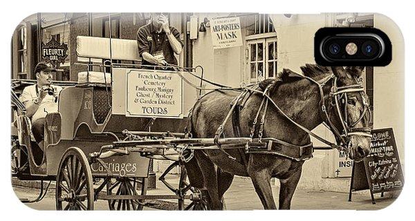 Steve Harrington iPhone Case - New Orleans - Carriage Ride Sepia by Steve Harrington