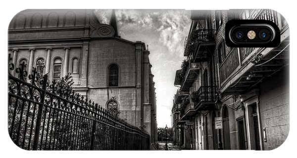 IPhone Case featuring the photograph New Orleans' Pirates Alley In Black And White by Greg and Chrystal Mimbs