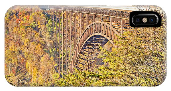 New River Gorge Single-span Arch Bridge In Autumn. IPhone Case