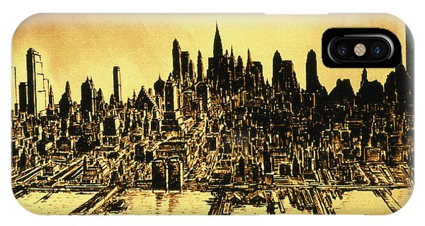 New York Skyline 78 - Mid Manhattan Ink Watercolor Painting IPhone Case