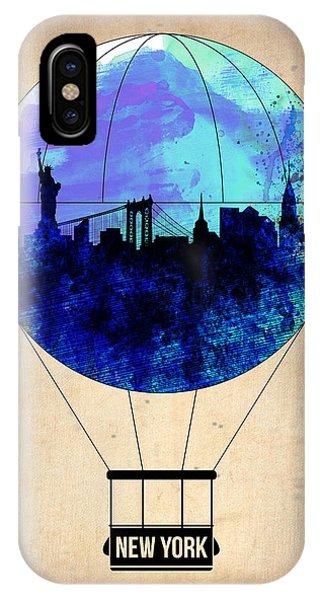 Manhattan Skyline iPhone Case - New York Air Balloon 2 by Naxart Studio