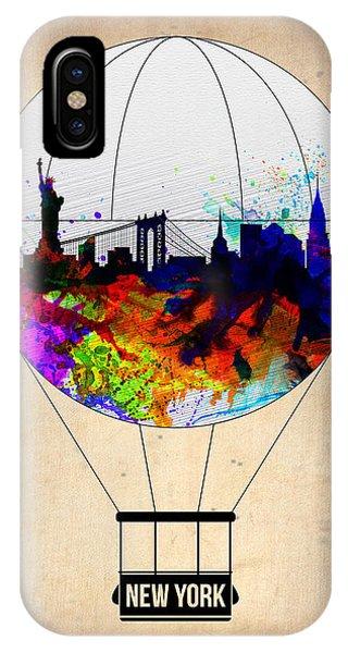 Manhattan Skyline iPhone Case - New York Air Balloon by Naxart Studio