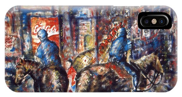New York Broadway At Night - Oil On Canvas Painting IPhone Case