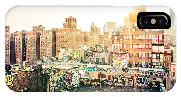 Sunset iPhone Case - New York City - Graffiti Rooftops Of Chinatown At Sunset by Vivienne Gucwa